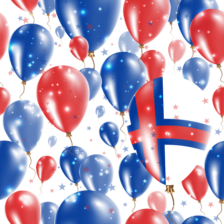 Faroes Independence Day Seamless Pattern. Flying Rubber Balloons in Colors of the Faroese Flag. Happy Faroes Day Patriotic Card with Balloons, Stars and Sparkles.