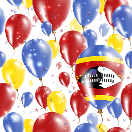 Swaziland Independence Day Seamless Pattern. Flying Rubber Balloons in Colors of the Swazi Flag. Happy Swaziland Day Patriotic Card with Balloons, Stars and Sparkles.