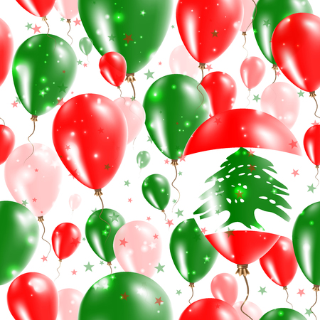 Lebanon Independence Day Seamless Pattern. Flying Rubber Balloons in Colors of the Lebanese Flag. Happy Lebanon Day Patriotic Card with Balloons, Stars and Sparkles.