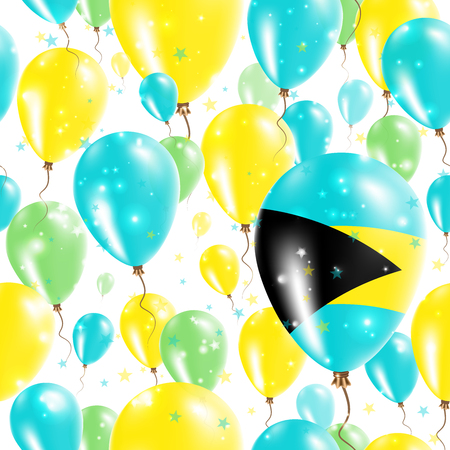 Bahamas Independence Day Seamless Pattern. Flying Rubber Balloons in Colors of the Bahamian Flag. Happy Bahamas Day Patriotic Card with Balloons, Stars and Sparkles. Illustration