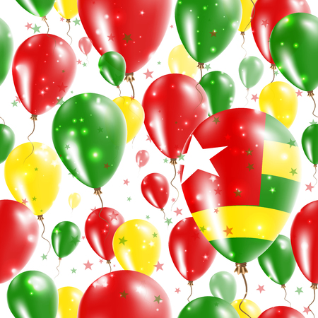 rite: Togo Independence Day Seamless Pattern. Flying Rubber Balloons in Colors of the Togolese Flag. Happy Togo Day Patriotic Card with Balloons, Stars and Sparkles.