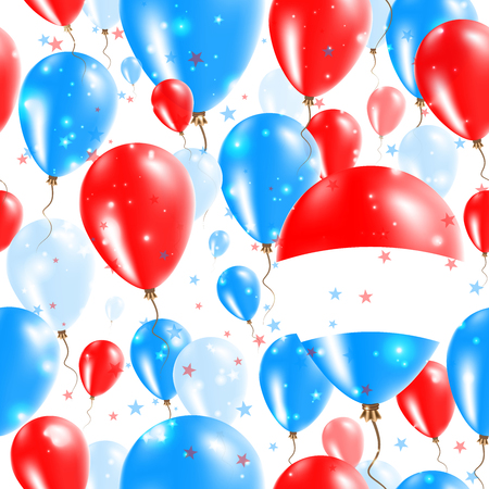 Luxembourg Independence Day Seamless Pattern. Flying Rubber Balloons in Colors of the Luxembourger Flag. Happy Luxembourg Day Patriotic Card with Balloons, Stars and Sparkles.