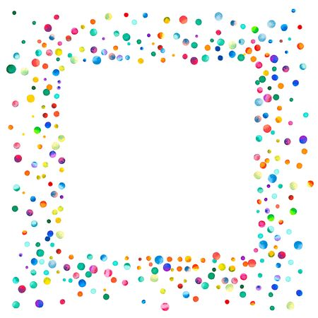 pied: Dense watercolor confetti on white background. Rainbow colored watercolor confetti square messy frame. Colorful hand painted illustration. Stock Photo