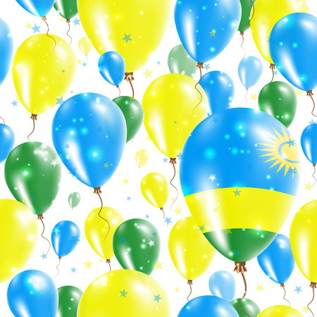 agleam: Rwanda Independence Day Seamless Pattern. Flying Rubber Balloons in Colors of the Rwandan Flag. Happy Rwanda Day Patriotic Card with Balloons, Stars and Sparkles. Illustration