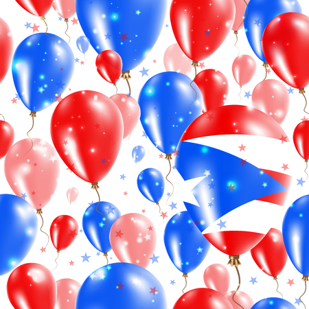Puerto Rico Independence Day Seamless Pattern. Flying Rubber Balloons in Colors of the Puerto Rican Flag. Happy Puerto Rico Day Patriotic Card with Balloons, Stars and Sparkles.