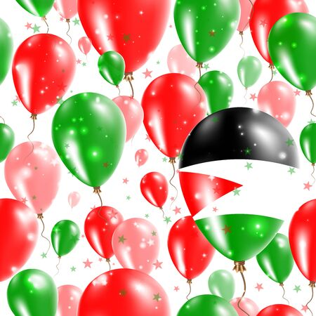 Palestine Independence Day Seamless Pattern. Flying Rubber Balloons in Colors of the Palestinian Flag. Happy Palestine Day Patriotic Card with Balloons, Stars and Sparkles.