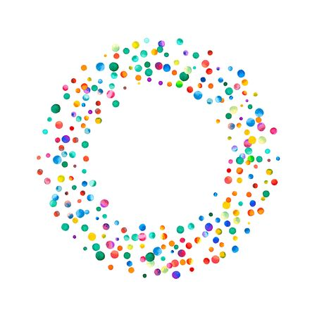 Dense watercolor confetti on white background. Rainbow colored watercolor confetti bagel frame. Colorful hand painted illustration.