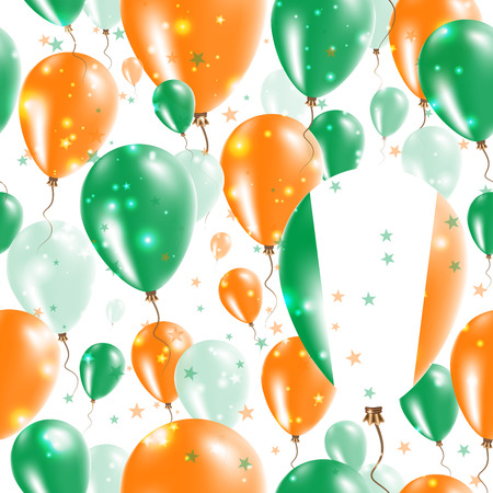 Ireland Independence Day Seamless Pattern. Flying Rubber Balloons in Colors of the Irish Flag. Happy Ireland Day Patriotic Card with Balloons, Stars and Sparkles. Illustration
