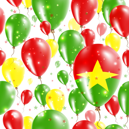 Burkina Faso Independence Day Seamless Pattern. Flying Rubber Balloons in Colors of the Burkinabe Flag. Happy Burkina Faso Day Patriotic Card with Balloons, Stars and Sparkles. Illustration