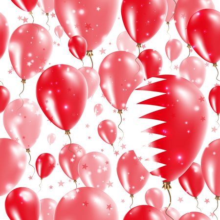 Bahrain Independence Day Seamless Pattern. Flying Rubber Balloons in Colors of the Bahraini Flag. Happy Bahrain Day Patriotic Card with Balloons, Stars and Sparkles.