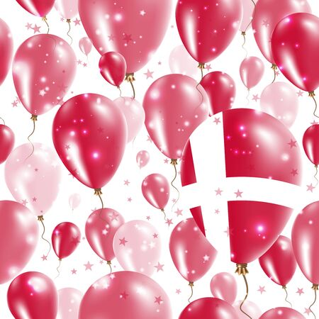 Denmark Independence Day Seamless Pattern. Flying Rubber Balloons in Colors of the Danish Flag. Happy Denmark Day Patriotic Card with Balloons, Stars and Sparkles.