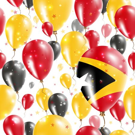 Timor-Leste Independence Day Seamless Pattern. Flying Rubber Balloons in Colors of the East Timorese Flag. Happy Timor-Leste Day Patriotic Card with Balloons, Stars and Sparkles. Illustration