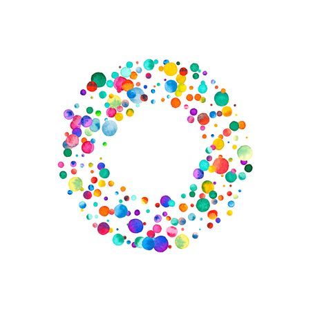 Letter o filled with sparse watercolor confetti on white background. Colorful bright hand painted alphabet. Happy alphabet made of sparse watercolor confetti. Stock Photo