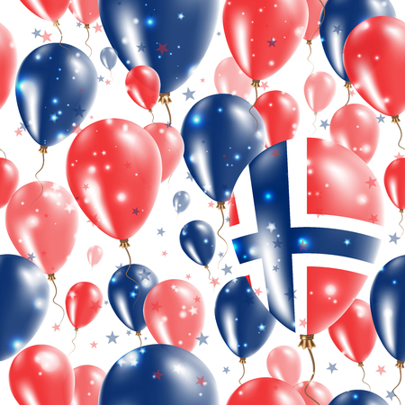 Norway Independence Day Seamless Pattern. Flying Rubber Balloons in Colors of the Norwegian Flag. Happy Norway Day Patriotic Card with Balloons, Stars and Sparkles. Illustration