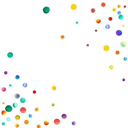 polychrome: Sparse watercolor confetti on white background. Rainbow colored watercolor confetti abstract chaotic mess. Colorful hand painted illustration.