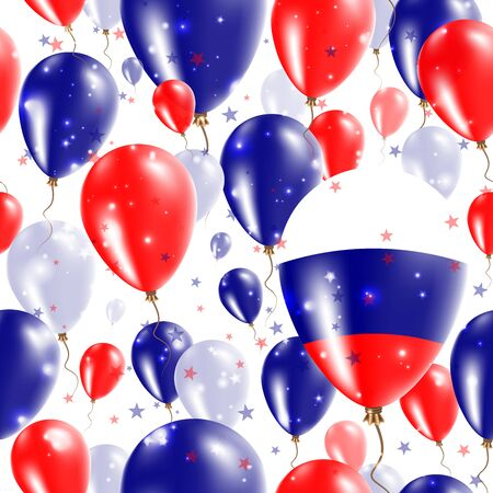 agleam: Russia Independence Day Seamless Pattern. Flying Rubber Balloons in Colors of the Russian Flag. Happy Russia Day Patriotic Card with Balloons, Stars and Sparkles.