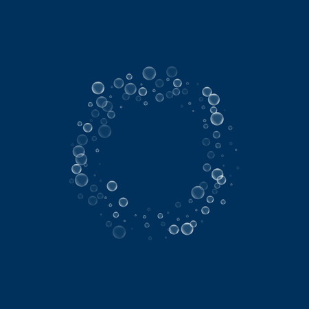 Soap bubbles. Smal bagel with soap bubbles on deep blue background. Vector illustration.