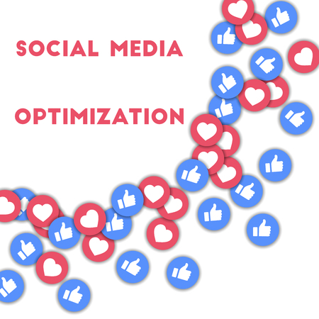 Social media optimization. Social media icons in abstract shape background with scattered thumbs up and hearts. Social media optimization concept in splendid vector illustration. Çizim
