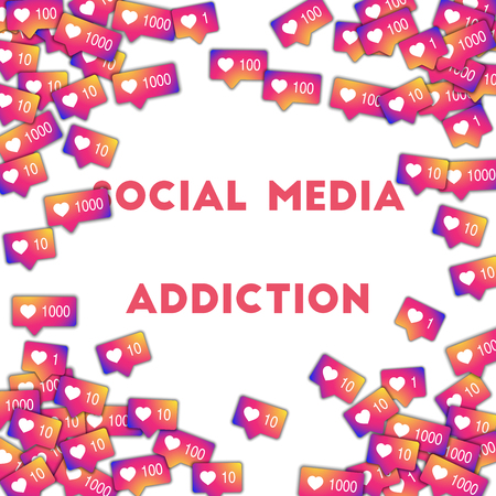 Social media addiction. Social media icons in abstract shape background with gradient counter. Social media addiction concept in fantastic vector illustration. Çizim