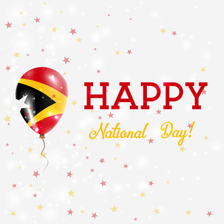 proclamation: Timor-Leste National Day patriotic poster. Flying Rubber Balloon in Colors of the East Timorese Flag. Timor-Leste National Day background with Balloon, Confetti, Stars, Bokeh and Sparkles.
