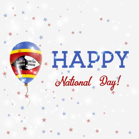 proclamation: Swaziland National Day patriotic poster. Flying Rubber Balloon in Colors of the Swazi Flag. Swaziland National Day background with Balloon, Confetti, Stars, Bokeh and Sparkles.