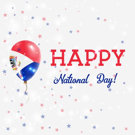 Nationale feestdag Sint Maarten patriottische poster. Vliegende rubberballon in kleuren van de Nederlandse vlag. Sint Maarten National Day achtergrond met ballon, Confetti, sterren, Bokeh en Sparkles. Stockfoto - 77466805