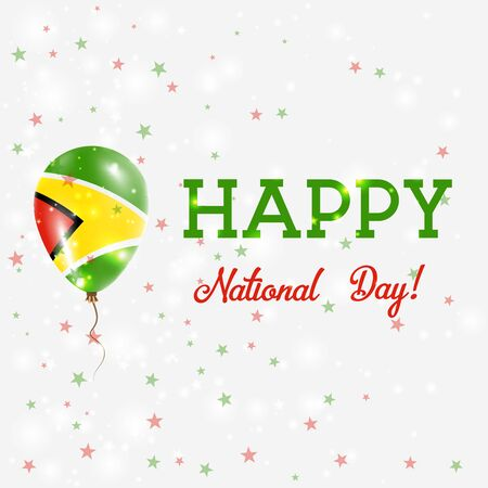 operative: Guyana National Day patriotic poster. Flying Rubber Balloon in Colors of the Guyanese Flag. Guyana National Day background with Balloon, Confetti, Stars, Bokeh and Sparkles.
