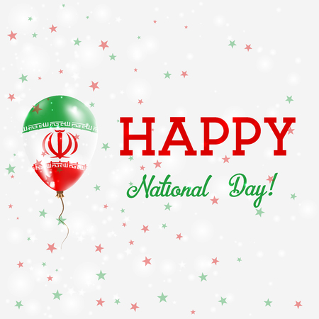 agleam: Iran National Day patriotic poster. Flying Rubber Balloon in Colors of the Iranian Flag. Iran National Day background with Balloon, Confetti, Stars, Bokeh and Sparkles.