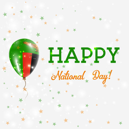 happening: Zambia National Day patriotic poster. Flying Rubber Balloon in Colors of the Zambian Flag. Zambia National Day background with Balloon, Confetti, Stars, Bokeh and Sparkles. Illustration