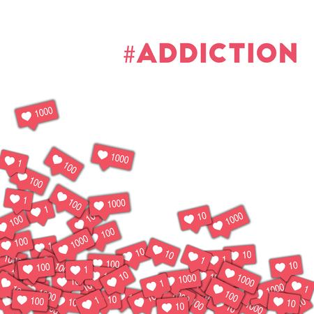 #addiction。ピンクのカウンターで抽象的な形のバック グラウンドでのソーシャル メディアのアイコン。信じられないほどのベクトル図に #addiction 概