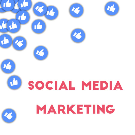Social media marketing. Social media icons in abstract shape background with scattered thumbs up. Social media marketing concept in shapely vector illustration. Illustration