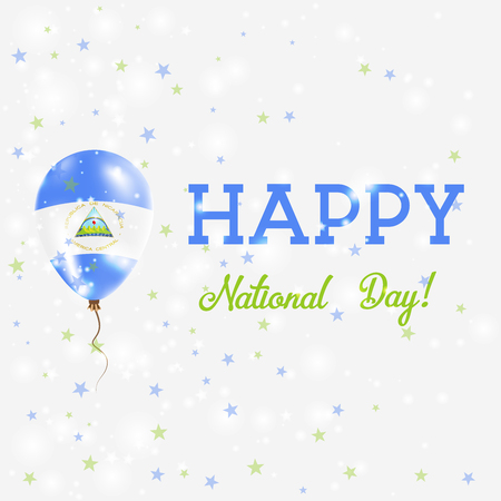commemoration day: Nicaragua National Day patriotic poster. Flying Rubber Balloon in Colors of the Nicaraguan Flag. Nicaragua National Day background with Balloon, Confetti, Stars, Bokeh and Sparkles. Illustration