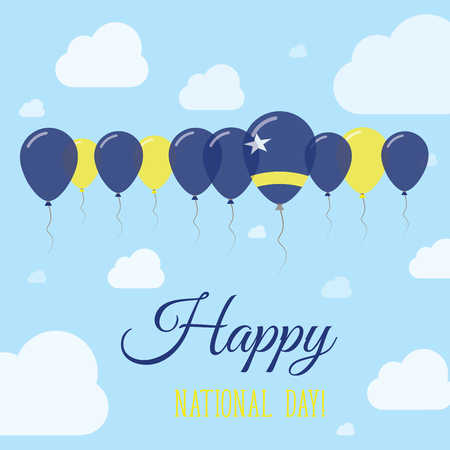 Curacao National Day Flat Patriotic Poster. Row of Balloons in Colors of the Dutch flag. Happy National Day Card with Flags, Balloons, Clouds and Sky. Illustration