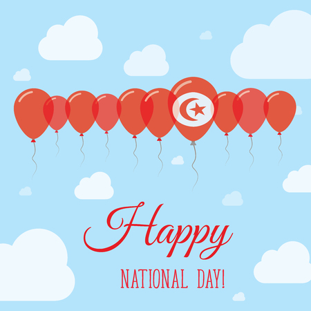 Tunisia National Day Flat Patriotic Poster. Row of Balloons in Colors of the Tunisian flag. Happy National Day Card with Flags, Balloons, Clouds and Sky.