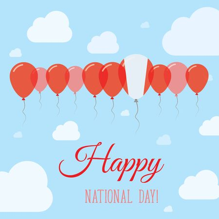 Peru National Day Flat Patriotic Poster. Row of Balloons in Colors of the Peruvian flag. Happy National Day Card with Flags, Balloons, Clouds and Sky.