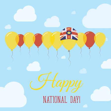Niue National Day Flat Patriotic Poster. Row of Balloons in Colors of the Niuean flag. Happy National Day Card with Flags, Balloons, Clouds and Sky.