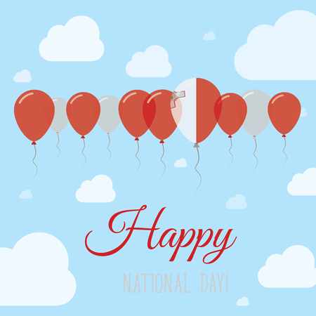 Malta National Day Flat Patriotic Poster. Row of Balloons in Colors of the Maltese flag. Happy National Day Card with Flags, Balloons, Clouds and Sky.