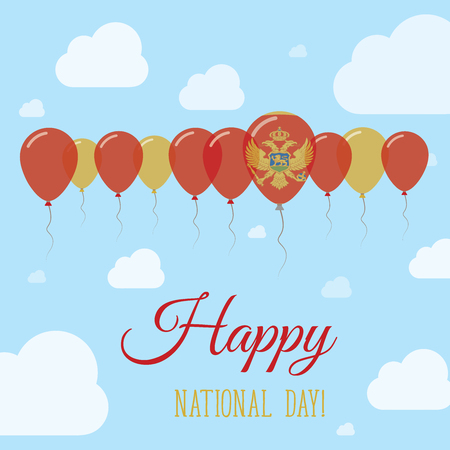 Montenegro National Day Flat Patriotic Poster. Row of Balloons in Colors of the Montenegrin flag. Happy National Day Card with Flags, Balloons, Clouds and Sky.