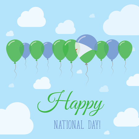 Djibouti National Day Flat Patriotic Poster. Row of Balloons in Colors of the Djibouti flag. Happy National Day Card with Flags, Balloons, Clouds and Sky. Illustration