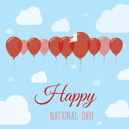 Tonga National Day Flat Patriotic Poster. Row of Balloons in Colors of the Tongan flag. Happy National Day Card with Flags, Balloons, Clouds and Sky. Illustration