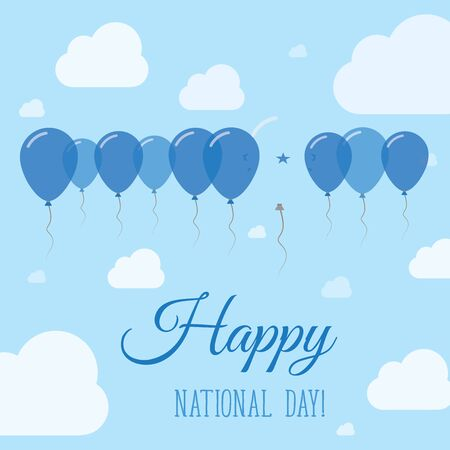 Honduras National Day Flat Patriotic Poster. Row of Balloons in Colors of the Honduran flag. Happy National Day Card with Flags, Balloons, Clouds and Sky. Illustration
