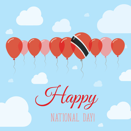 Trinidad and Tobago National Day Flat Patriotic Poster. Row of Balloons in Colors of the Trinidadian flag. Happy National Day Card with Flags, Balloons, Clouds and Sky.