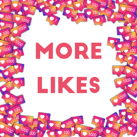 More likes. Social media icons in abstract shape background with gradient counter. More likes concept in admirable vector illustration.