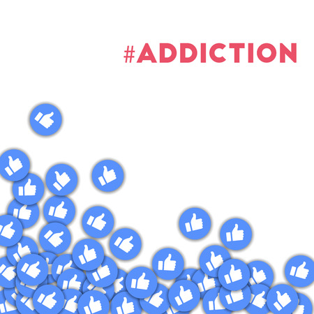 #addiction. Social media icons in abstract shape background with scattered thumbs up. #addiction concept in curious vector illustration.