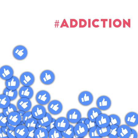 #dépendance. Icônes des médias sociaux en arrière-plan abstraite avec des pouces épars. Concept #diction dans une curieuse illustration vectorielle.