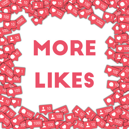 More likes. Social media icons in abstract shape background with counter, comment and friend notification. More likes concept in wonderful vector illustration. Illusztráció