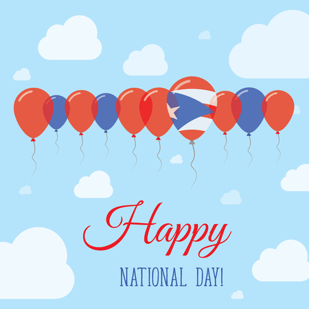 Puerto Rico National Day Flat Patriotic Poster. Row of Balloons in Colors of the Puerto Rican flag. Happy National Day Card with Flags, Balloons, Clouds and Sky.