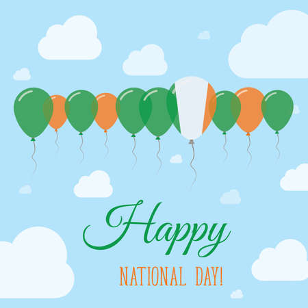 Ireland National Day Flat Patriotic Poster. Row of Balloons in Colors of the Irish flag. Happy National Day Card with Flags, Balloons, Clouds and Sky.