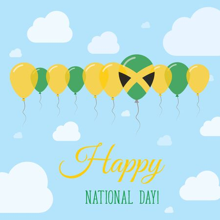 Jamaica National Day Flat Patriotic Poster. Row of Balloons in Colors of the Jamaican flag. Happy National Day Card with Flags, Balloons, Clouds and Sky.