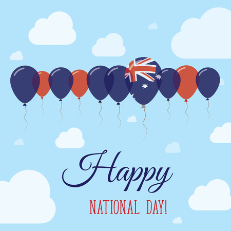 nationalist: Australia National Day Flat Patriotic Poster. Row of Balloons in Colors of the Australian flag. Happy National Day Card with Flags, Balloons, Clouds and Sky.